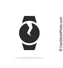 Broken round smart watch simple icon on white background...