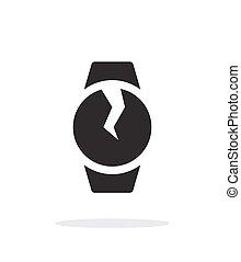 Broken round smart watch simple icon on white background....