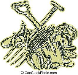 Spade Pitchfork Crop Harvest Etching - Etching engraving...