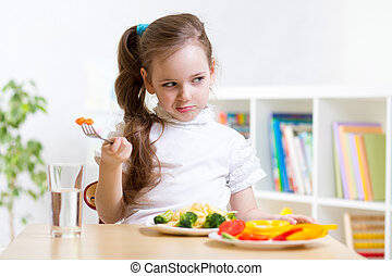 kid refusing to eat his dinner - pretty kid girl refusing to...