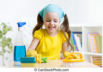 cute girl make cleaning in the children room at home - cute...