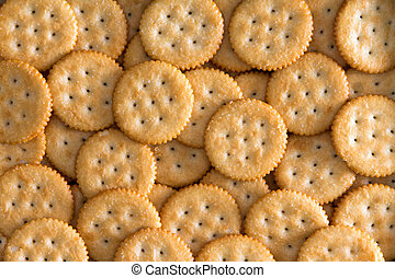 Salted Baked Round Crackers for Backgrounds - Close up...