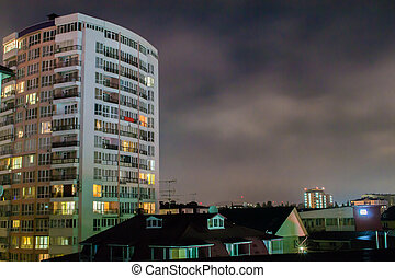 Nightime Apartments - Night time shot of apartment block...