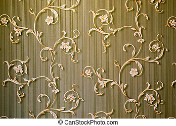 Floral Swirls on Stripes - Floral french style swirls rest...