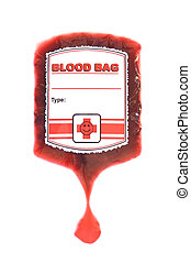 red blood bag iv isolated on white
