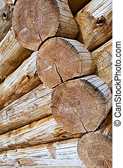 Chalet - Close up of logs of a wooden chalet