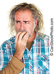 Jittery Man Biting Nails - Single isolated man in beard...