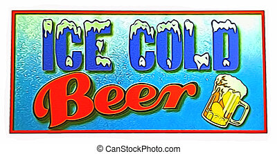 cold beer sigm - vintage ice cold beer sign