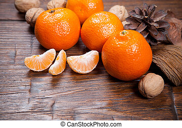 Tangerines on wooden table - Tangerines on old wooden table