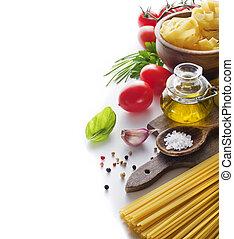 Pasta ingredients - Raw Pasta with ingredients on white...