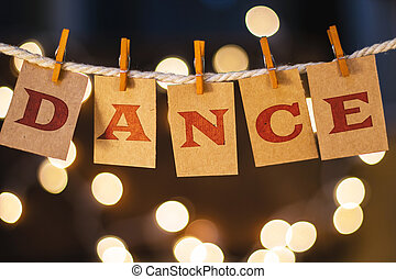 Dance Concept Clipped Cards and Lights - The word DANCE...
