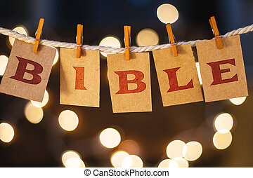 Bible Concept Clipped Cards and Lights - The word BIBLE...