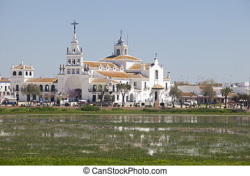 El Rocio village. A view from the opposite site of the lake