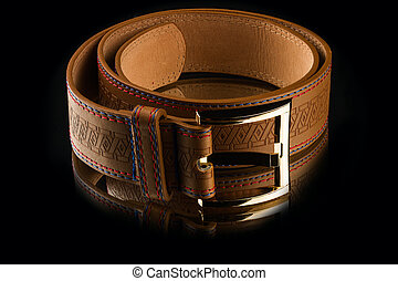 new stylish brown leather mens belt on mirror background