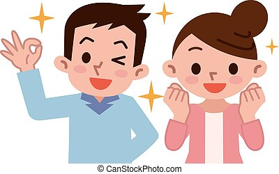 ouple rejoice - Vector illustration.