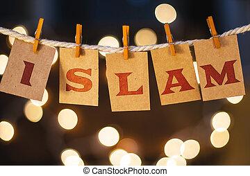 islam, concepto, acortado, tarjetas, y, luces,