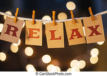 Relax Concept Clipped Cards and Lights - The word RELAX...