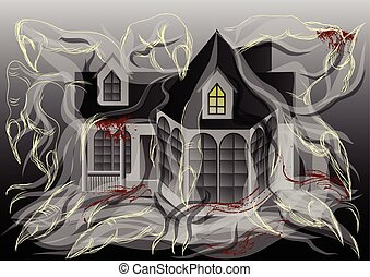 spooky house illustration