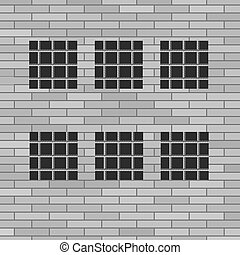 Prison Grey Brick Wall with Windows. Jail Wall.