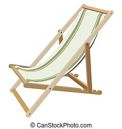 Deckchair - Wooden chaise lounge on a white background