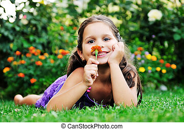 happy childredn outdoor - happy young girl children relax...