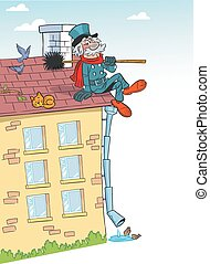 cartoon chimney sweep on roof - The illustration shows a...