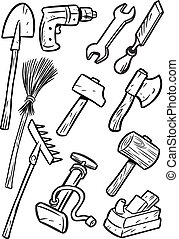 cartoon tools - The illustration shows some types of...