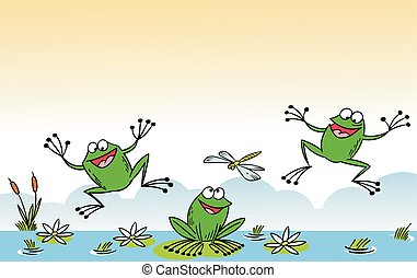 funny cartoon frog - The illustration shows of some cartoon...
