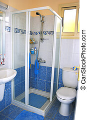 Shower cabinet in blue bathroom.