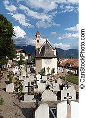 parroquia, iglesia, UND, cementerio, en, Dorf, Tirol,