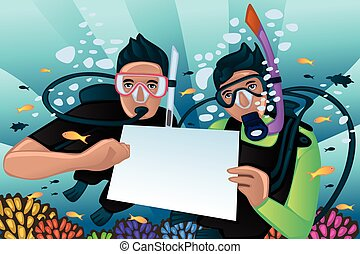 Snorkeling poster - A vector illustration of snorkeling...