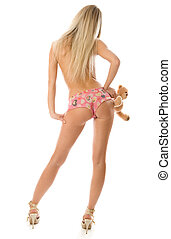 Blonde girl with little teddy bear - Picture of blonde girl...