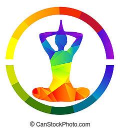 Yoga icon isolated over white background