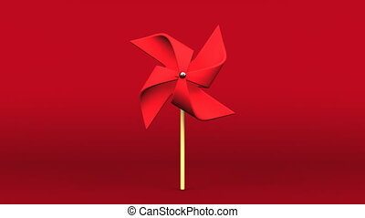 Red Pinwheel On Red Background.