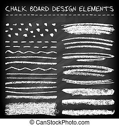 Set of chalk strokes - Set of chalk strokes, curved lines,...