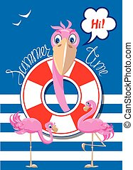 Funny Card with pink flamingos on stripe background