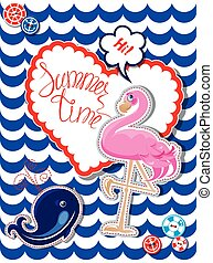 Funny Card with pink flamingo and blur whale on stripe backgroun