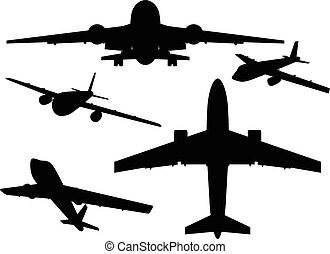 Aircrafts. - Airbus silhouettes from different angles....