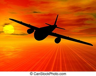 Aircrafts. - Airbus silhouette on sunset background. Vector...