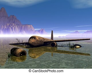 Old airbus - Aircrafts Old airbus Rusty aircraft in a swamp...