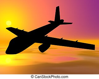 Aircrafts. Airbus silhouette on sunset background. Vector...