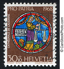 Libra - SWITZERLAND - CIRCA 1968: stamp printed by...