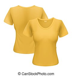 Woman t-shirt - Women yellow T-shirt isolated on white...