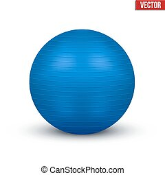 Classic blue Fitball Vector Illustration isolated on white...