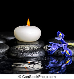 beautiful spa concept of blooming iris flower, candles and...