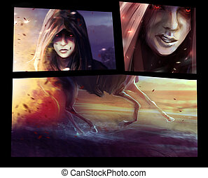 Horseman woman comic sliders. - Horseman warrior woman faces...