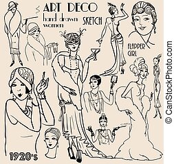 Retro Party Collection of hand drawn people