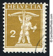 William Tell - SWITZERLAND - CIRCA 1909: stamp printed by...