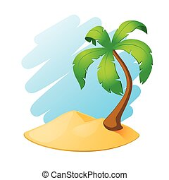 Palm tree island. EPS10 vector.