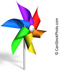 Pinwheel with rainbow colored wheel - Pinwheel with a...